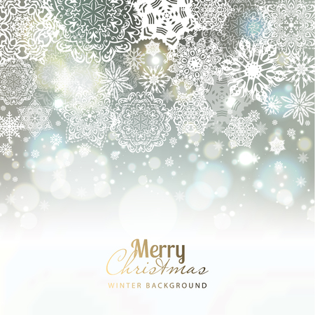 seasons greeting card: Snowflake background. Vector holiday backdrop.