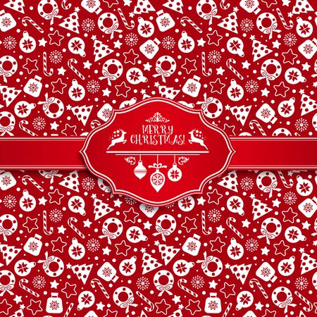 christmas seamless pattern: Seamless pattern of christmas texture icons on red background. Illustration