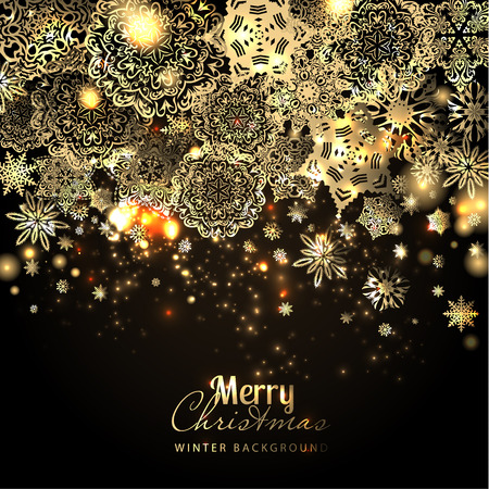 gold christmas: Snowflake background. Vector holiday backdrop.