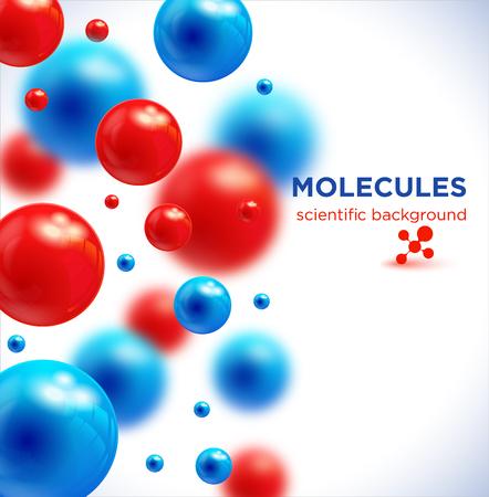 파란색과 빨간색 분자, 벡터 background.3D 분자.