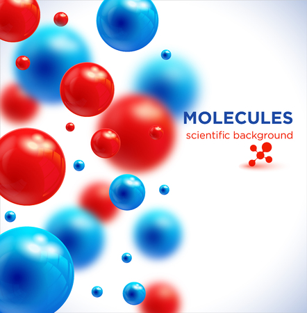 Blue and red molecules, vector background.3D molecule.