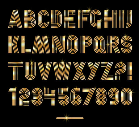 retro party: Retro stripes gold fonts set,trendy elegant retro style design.  Illustration