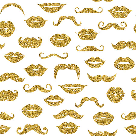 mustache: Glitter seamless fashion pattern in gold. Illustration