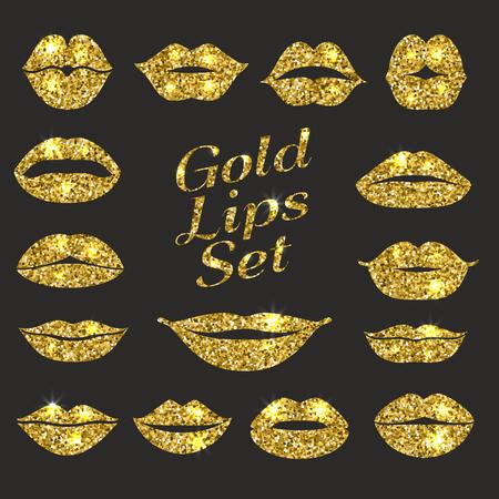 Lips set. Design element of glitters.