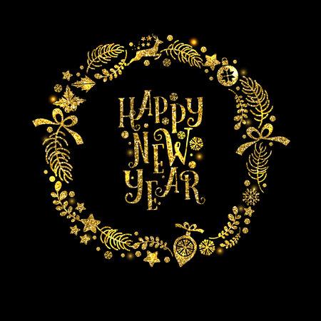 luxo: Natal e Ano Novo coroa de ouro. Feriado do vetor de fundo
