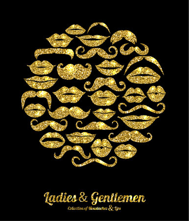 glitter hearts: Lips and Moustaches gold set. Design glitter icons element.