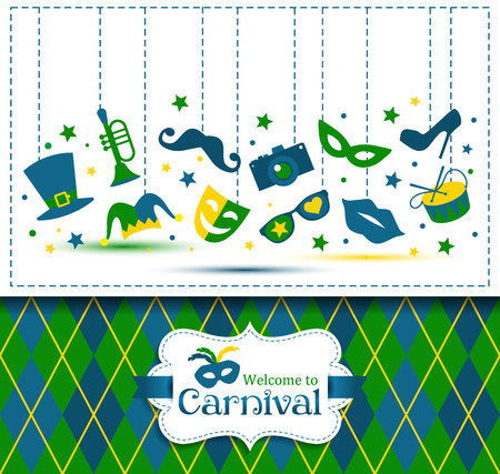 carnival masks: Bright vector carnival illustration and sign Welcome to Carnival Illustration