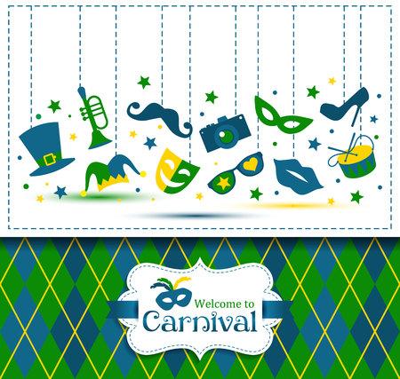 carnaval: Lumineux illustration vecteur de carnaval et signer Bienvenue au Carnaval Illustration