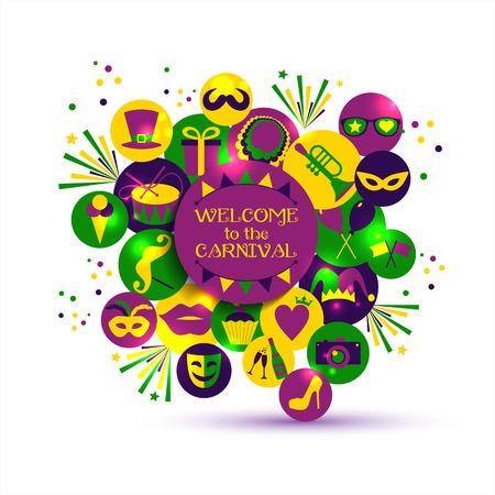 Carnival vector illustration of celebration flat icons.