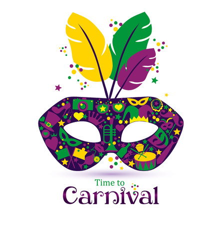 Bright vector carnival icons mask and sign Time to Carnival! Vectores