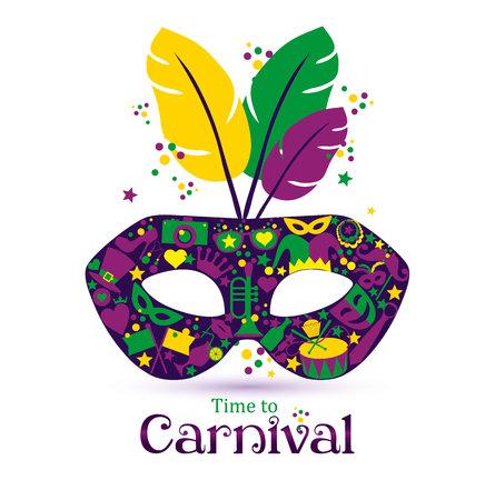 caretas teatro: Vector de los iconos brillantes de carnaval máscara y signo Tiempo de Carnaval!