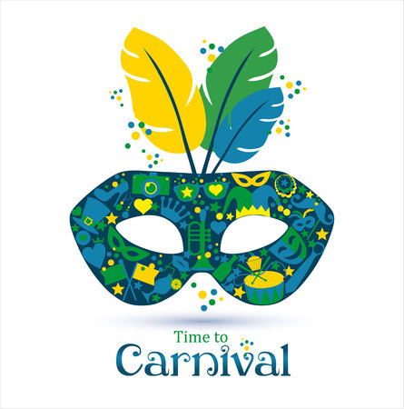 teatro mascara: Vector de los iconos brillantes de carnaval máscara y signo Tiempo de Carnaval!