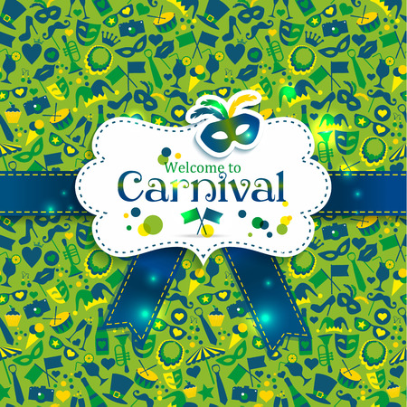carnival mask: Bright vector carnival icons. Seamless pattern.