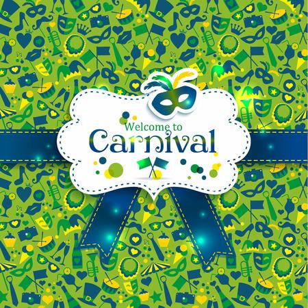 mascaras de carnaval: Vector de los iconos de carnaval brillantes. Patr�n sin fisuras.