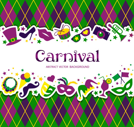Bright vector carnival background and sign Welcome to Carnival
