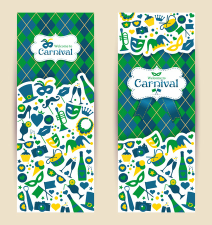 carnival masks: Bright vector carnival banners and sign Welcome to Carnival