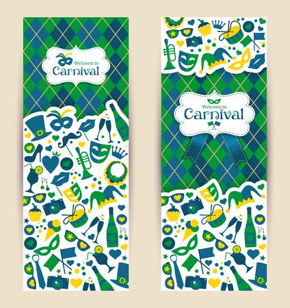 mascaras de carnaval: Brillantes banderas del vector de carnaval y firmar Bienvenidos al Carnaval