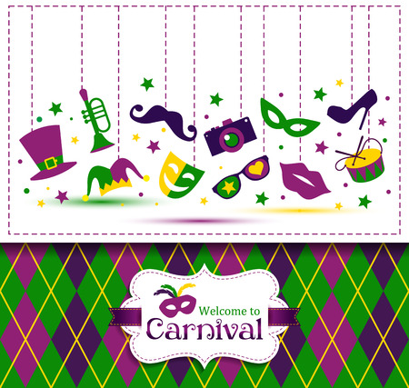 mardi gras mask: Bright vector carnival seamless texture and sign Welcome to Carnival Illustration