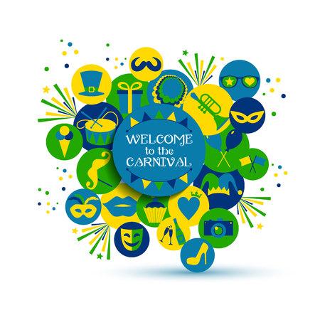 carnaval: Carnival vector illustration of celebration flat icons.