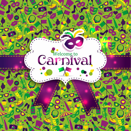 carnival masks: Bright vector carnival seamless texture and sign Welcome to Carnival Illustration
