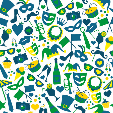 Bright vector carnival icons. Seamless pattern.