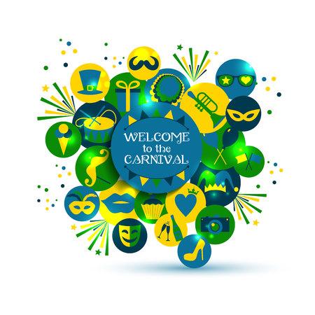 Ilustración vectorial Carnaval de iconos planos celebración. Foto de archivo - 51705971