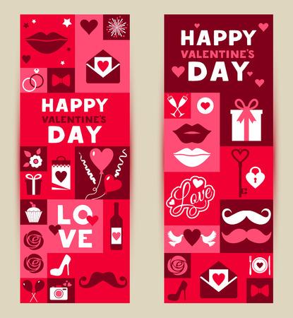 vintage patterns: Vector set banners of Valentines Day. Vintage design in red and rose color.