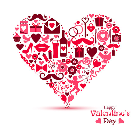 valentine day: Vector card of Valentine Day. Heart of icons.