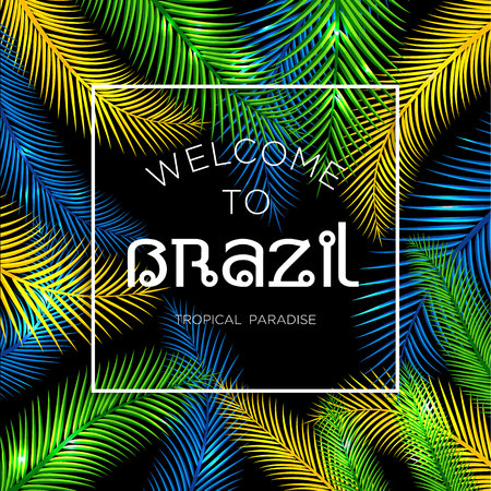 nigth: Welcome to Brazil! Vector illustration of color palm.