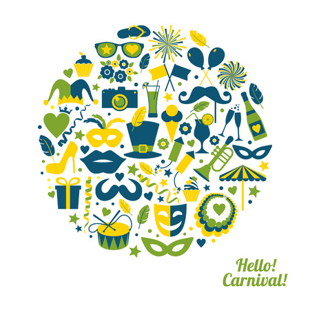 decoration decorative disguise: Carnival vector illustration in circle.