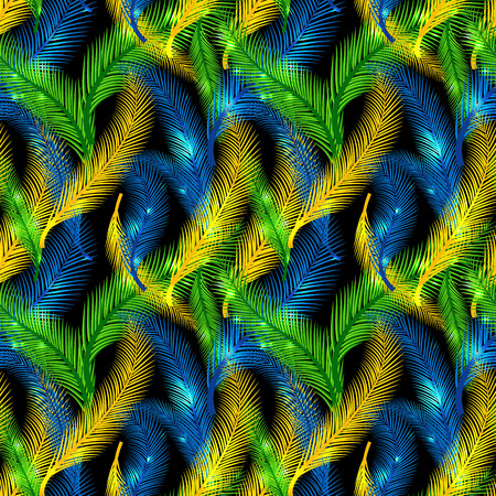 The Brazilian background from feathers in the Brazilian ethnic color. Seamless pattern. Carnival background on the black. Stock Illustratie