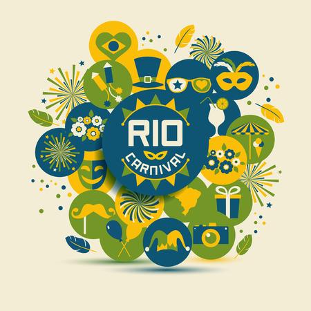 Carnival vector illustration. Rio carnival icons set.  イラスト・ベクター素材