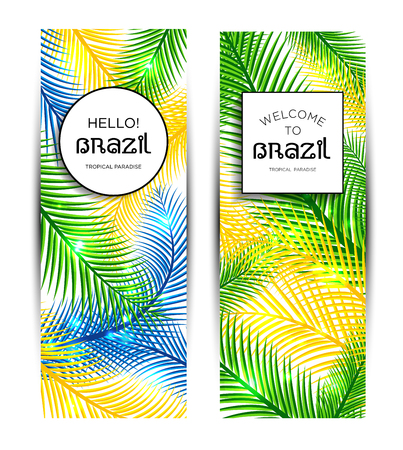 show plant: Welcome to Brazil! Vector banner set illustration of color palm.