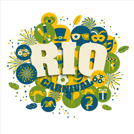 Carnival vector illustration. Rio carnival icons set. Illustration