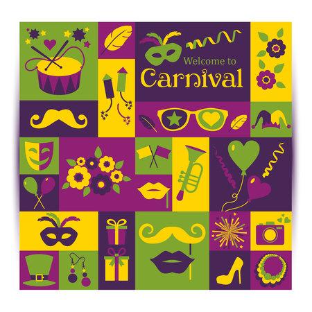 mascaras de carnaval: Bright carnaval del vector y se�al de bienvenida al Carnaval. Estilo retro.