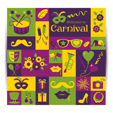 carnaval: vecteur brillant carte de carnaval et signe Bienvenue à Carnival. Style rétro.