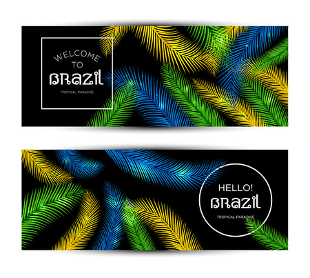 tropical garden: Welcome to Brazil! Vector banner set illustration of color palm.