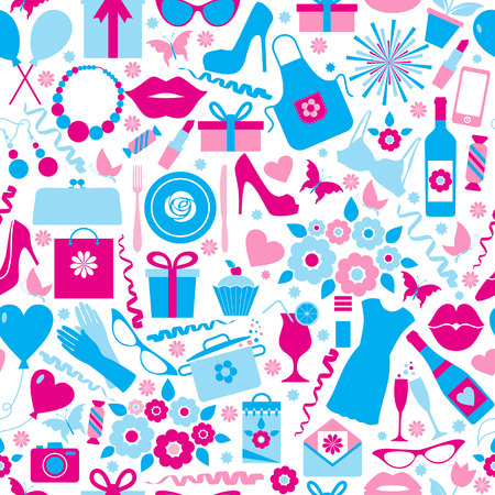 mother day: Seamless pattern of spring celebration  8 march and mothers day Illustration