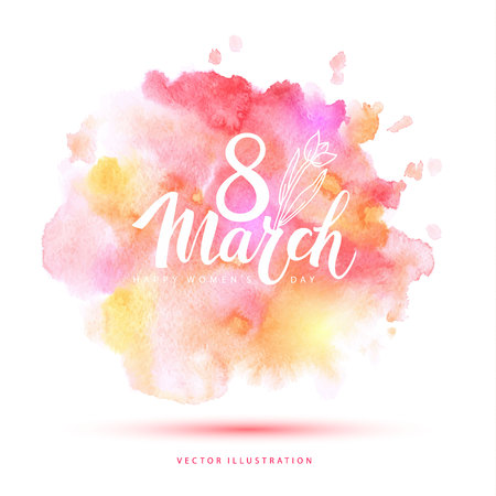 8 March watercolor card. Stock Illustratie
