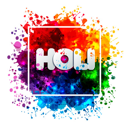 Holi spring festival of colors design element and sign holi. Can use for banners, invitations and greeting cards Illusztráció