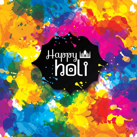 spring festival: Holi spring festival of colors design element and sample text. Can use for banners, invitations and greeting cards. Seamless pattern of blots on black. Illustration