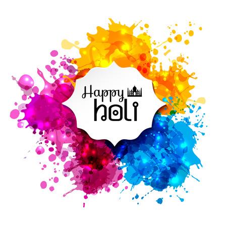색상 디자인 요소의 홀리 봄 축제와 홀리 서명. 배너, 초대장 및 인사말 카드를 사용할 수 일러스트