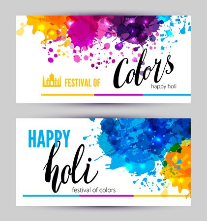 grungy header: Calligraphic header and banner set happy holi beautiful Indian festival colorful collection design.