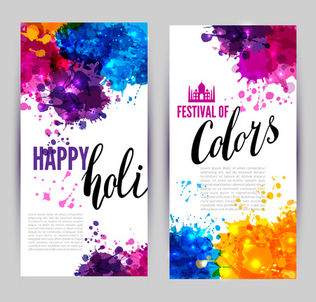 holi: Calligraphic header and banner set happy holi beautiful Indian festival colorful collection design.