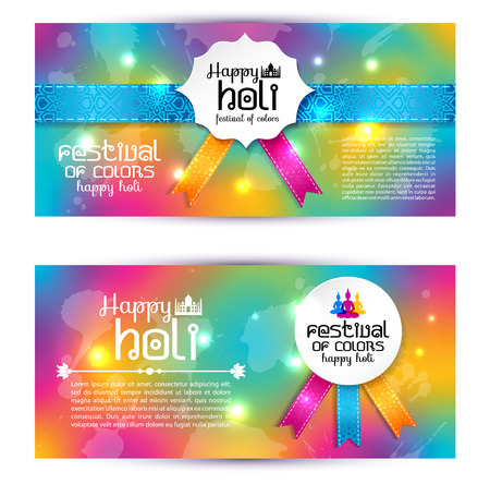 budha: Banner set happy holi beautiful Indian festival colorful collection design. Vector illustration.
