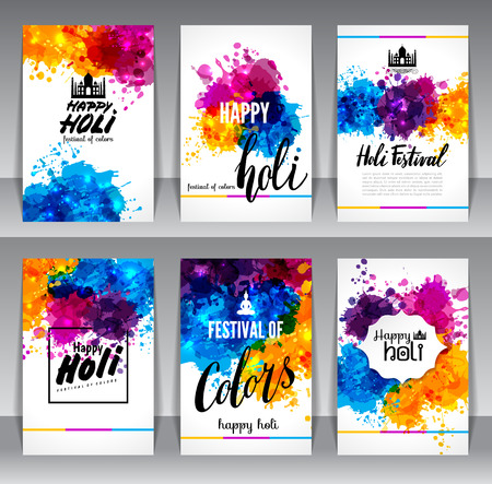 Calligraphic header and banner set happy holi beautiful Indian festival colorful collection design. Vector illustration. Vettoriali