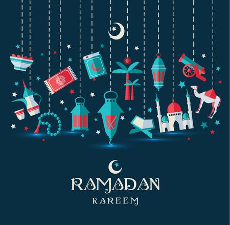 muslim celebration: Ramadan Kareem icons set of Arabian