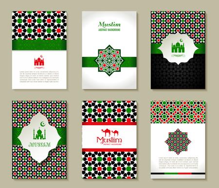 religious symbol: Banners set of islamic. Uae color design.