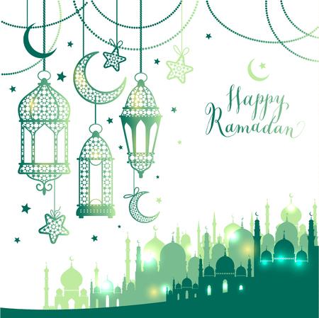 イスラム教徒の抽象的な挨拶バナー。夕暮れ時のイスラム ベクトル図。カリグラフィ アラビアのイードムバラク翻訳おめでとう!