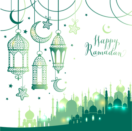 Moslim abstract groet banners. Islamitische vector illustratie bij zonsondergang. Kalligrafische Arabische Eid Mubarak in vertaling Gefeliciteerd! Stock Illustratie